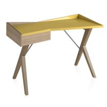 "Bureau Design ""Robert"" 120cm Naturel & Moutarde"