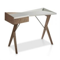 "Bureau Design ""Robert"" 120cm Naturel & Gris Perle"