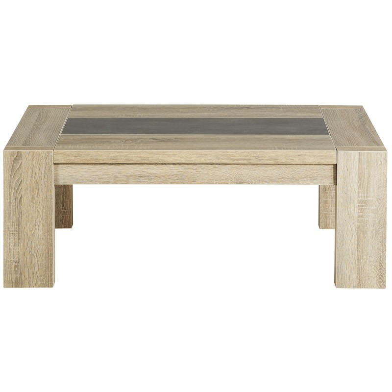 Table basse phoenix ch ne brut beige for Table basse laquee beige