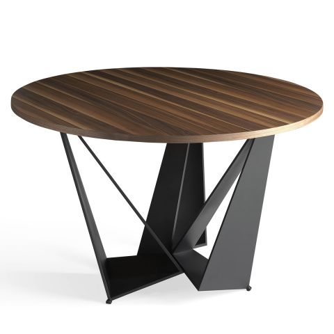 "Table à Manger Ronde Design ""Abril"" 150cm Noyer"