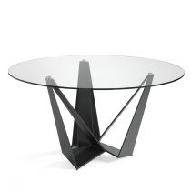 "Table à Manger Ronde Design ""Abril"" 150cm Transparent"