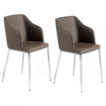"Lot de 2 Chaises Design ""Alvaro"" 79cm Taupe"