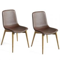 "Lot de 2 Chaises Design ""Eva"" 87cm Marron"