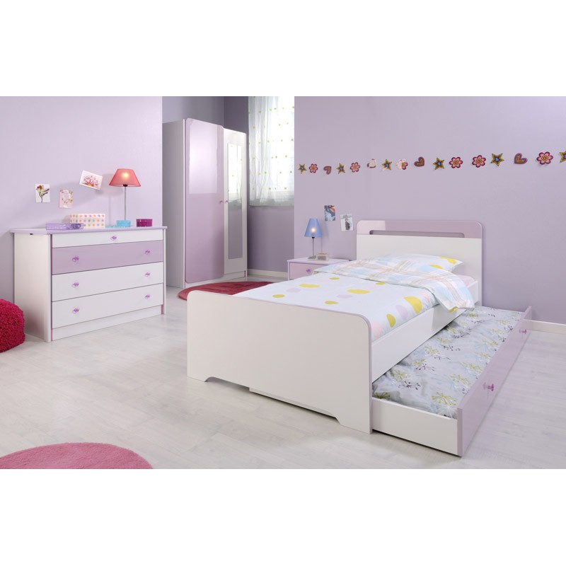 tiroir de lit enfant girly blanc. Black Bedroom Furniture Sets. Home Design Ideas