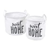 "Lot de 2 Paniers Ronds ""Sweet Home"" 22cm Blanc"