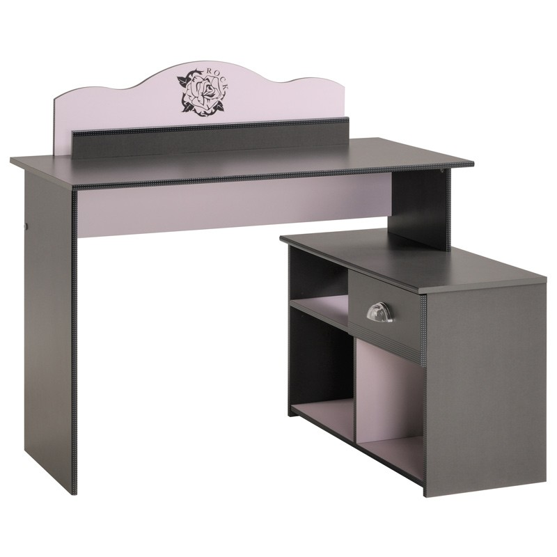 bureau enfant flora gris. Black Bedroom Furniture Sets. Home Design Ideas