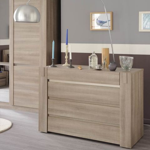 "Commode 4 Tiroirs ""Luxor"" Chêne Curtiss Beige"
