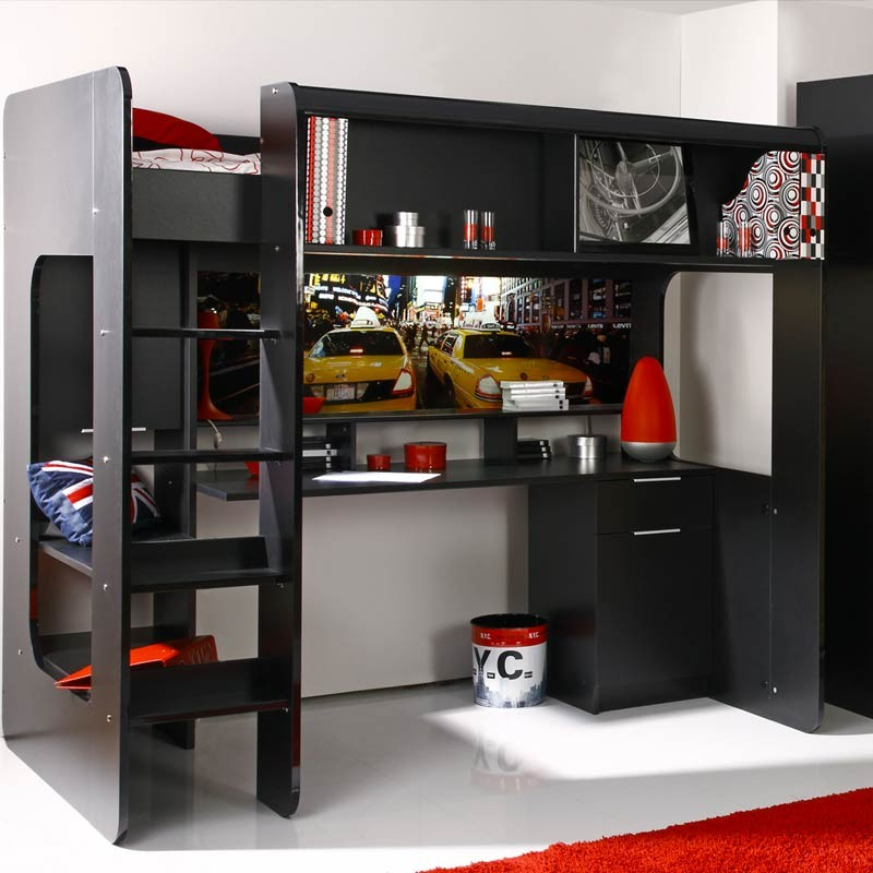 lit mezzanine enfant taxi nyc noir. Black Bedroom Furniture Sets. Home Design Ideas