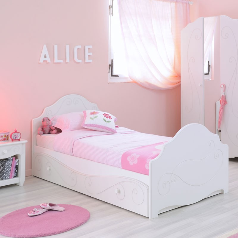 Lit enfant betty 90x200cm blanc - Lit enfant 1 place ...