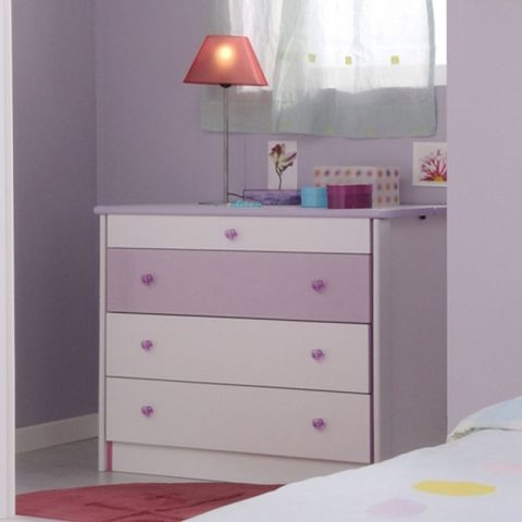 "Commode 3 Tiroirs ""Girly"" Blanc"