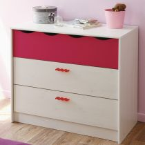 "Commode 3 Tiroirs ""Julie"" Blanc & Rose"