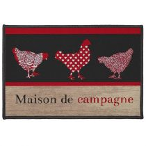 "Tapis Déco Rectangle ""Campagne"" 40x60cm Rouge"