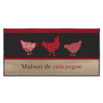 "Tapis Déco Rectangle ""Campagne"" 57x115cm Rouge"