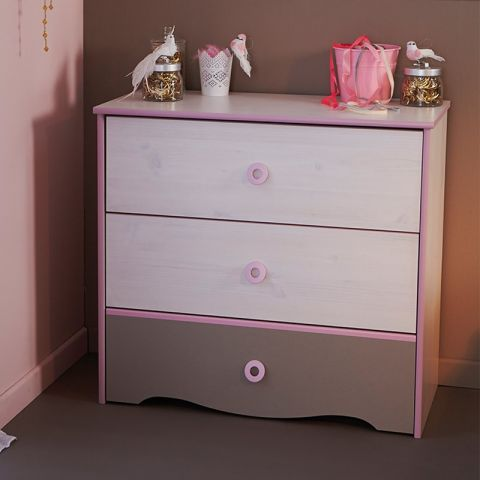 "Commode 3 Tiroirs ""Dream"" Rose"