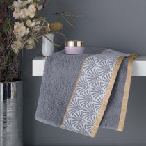 "Serviette de Toilette ""Goldy"" 50x90cm Gris & Or"