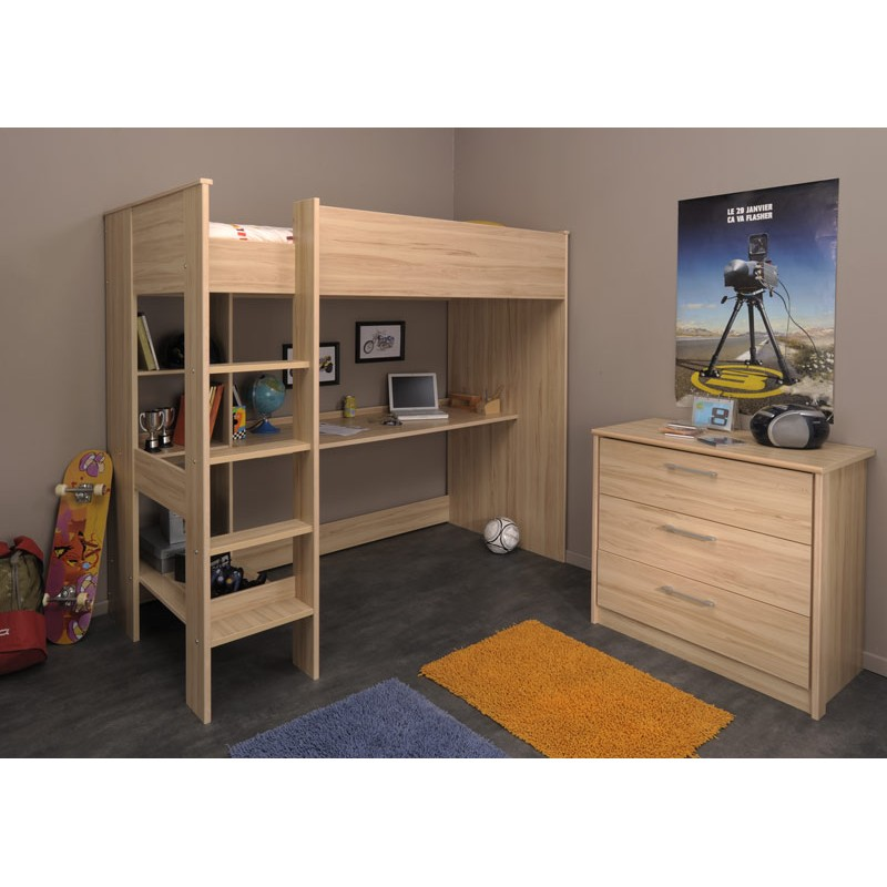 lit enfant sur lev 90x200cm jordan bois clair. Black Bedroom Furniture Sets. Home Design Ideas
