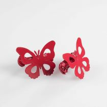 "Lot de 2 Embrasses de Rideau ""Papillando"" 7cm Rouge"