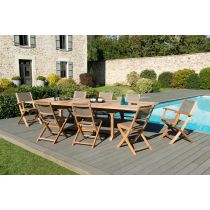 "Table & 8 Assises de Jardin ""Bayo"" 300cm Naturel"