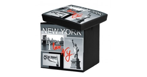 pouf de rangement pliable i love new york. Black Bedroom Furniture Sets. Home Design Ideas