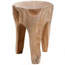 "Tabouret Rond en Teck Massif ""Okley"" 40cm Naturel"
