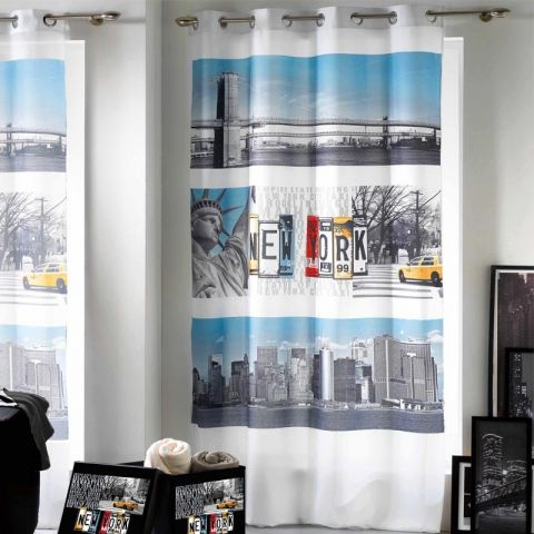 "Rideau 140x260cm ""New York Winter"" Blanc"
