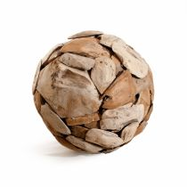 "Boule Décorative en Teck ""Okley"" 40cm Naturel"