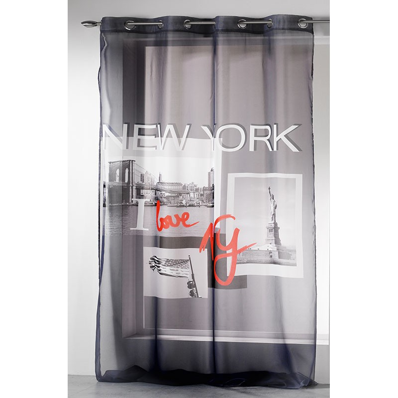 Voilage 140x260cm i love new york gris - Rideau new york conforama ...