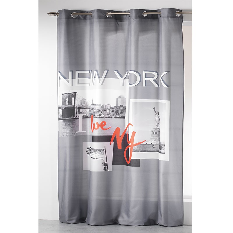 Rideau 140x260cm i love new york gris for Rideau new york chambre