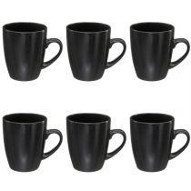 "Lot de 6 Mugs en Porcelaine ""Connor"" 32cl Noir"