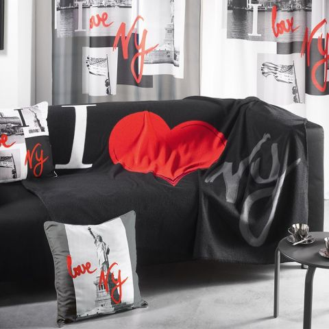 "Plaid Polaire 130x160cm ""I love New York"" Noir"