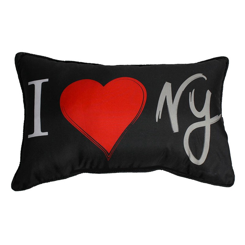coussin 30x50cm i love new york noir. Black Bedroom Furniture Sets. Home Design Ideas
