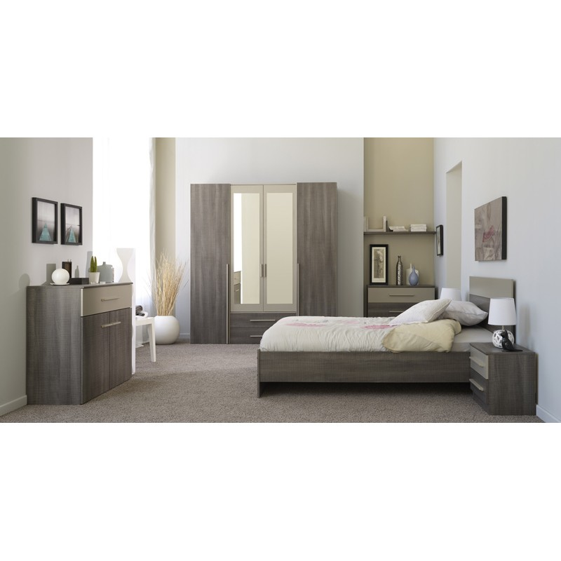 ensemble de lit chevets 160x200cm epura marron. Black Bedroom Furniture Sets. Home Design Ideas