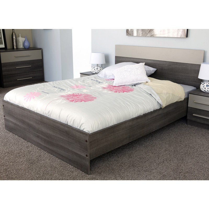 Ensemble lit chevets 140x190cm epura marron - Ensemble lit x ...