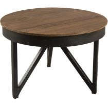 "Table d'Appoint Ronde Teck ""Wangle"" 35cm Naturel"