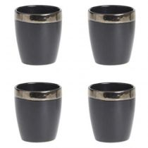 "Lot de 4 Tasses à Café ""Jungle Africa"" 11cl Noir"