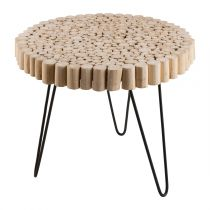 "Table d'Appoint Ronde en Teck ""Neicle"" 48cm Naturel"