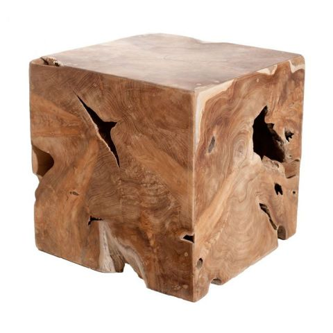 "Cube Décoratif Design Teck ""Okley"" 40cm Naturel"