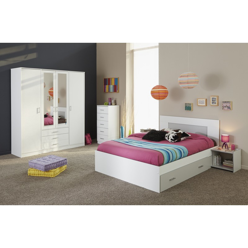 lit adulte 140x190cm max blanc. Black Bedroom Furniture Sets. Home Design Ideas