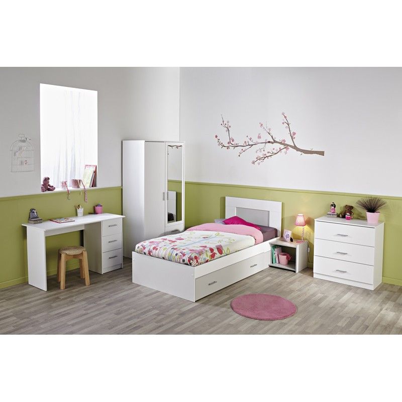 lit enfant 90x200cm max blanc. Black Bedroom Furniture Sets. Home Design Ideas