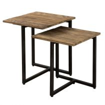 "Lot de 2 Tables d'Appoint Gigognes ""Wangle"" 50cm Naturel"