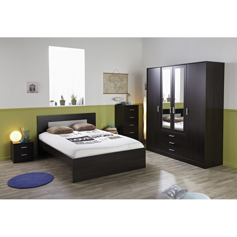 Lit adulte 160x200cm max marron for Achat chambre adulte complete