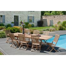 "Table & 8 Chaises de Jardin ""Bayo"" 300cm Naturel"