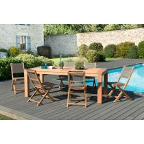 "Table & 6 Chaises de Jardin ""Olan"" 220cm Naturel"