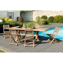 "Table & 6 Chaises de Jardin ""Bayo"" 240cm Naturel"