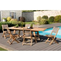"Table & 6 Chaises de Jardin Design ""Bayo"" 240cm Naturel"
