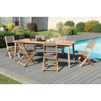 "Table & 6 Chaises de Jardin ""Kama"" 220cm Naturel"