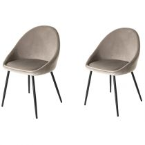 "Lot de 2 Chaises en Velours ""Cline"" 78cm Taupe"