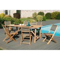 "Table & 6 Chaises de Jardin ""Boko"" 180cm Naturel"