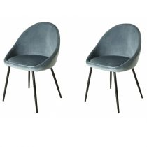 "Lot de 2 Chaises en Velours ""Cline"" 78cm Bleu"