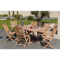 "Table & 6 Assises de Jardin ""Bayo"" 240cm Naturel"